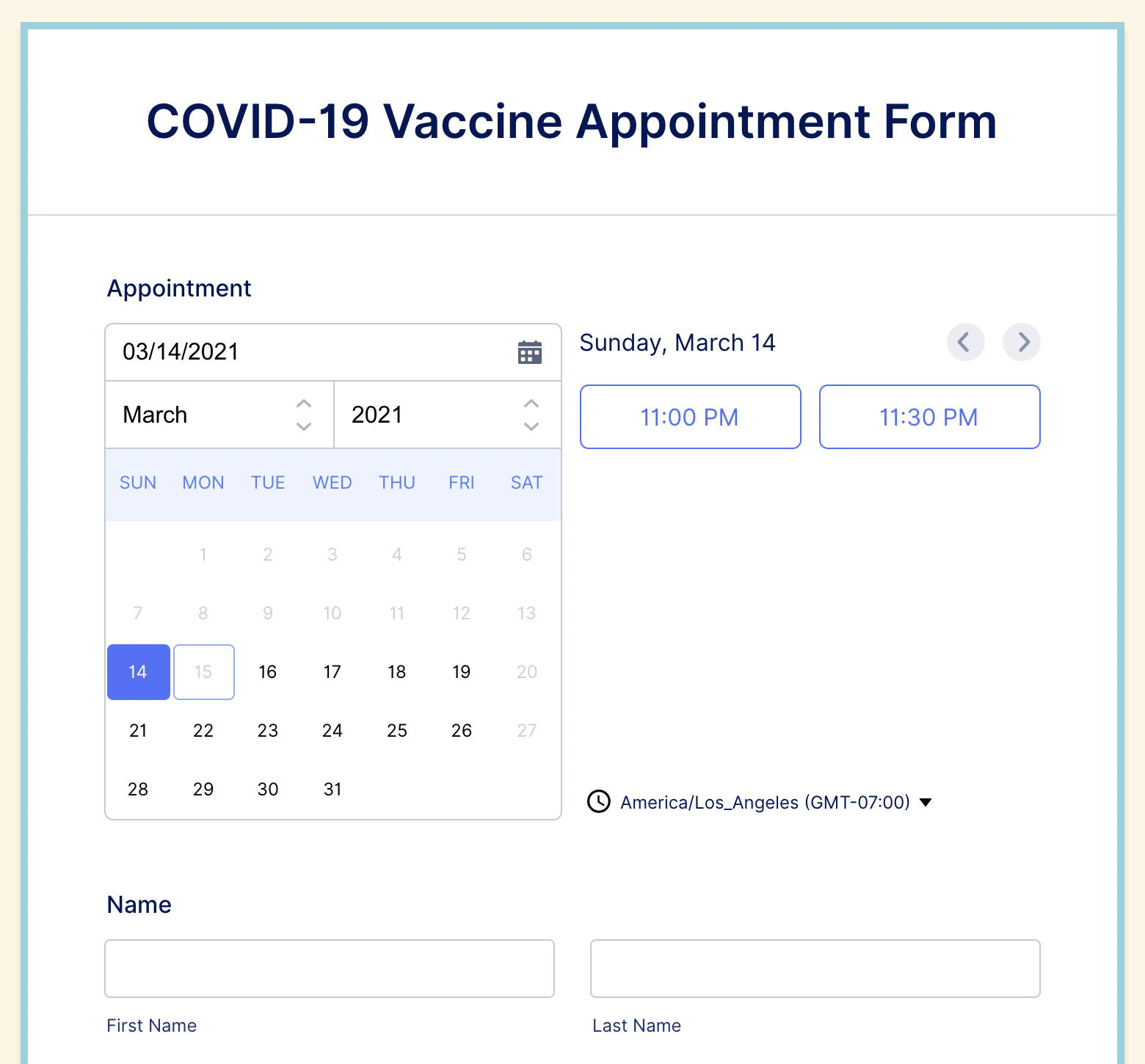 Covid Vaccine Appointment Form