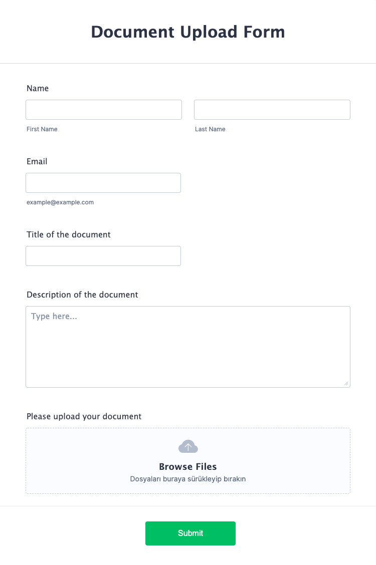 Document Upload Form Template