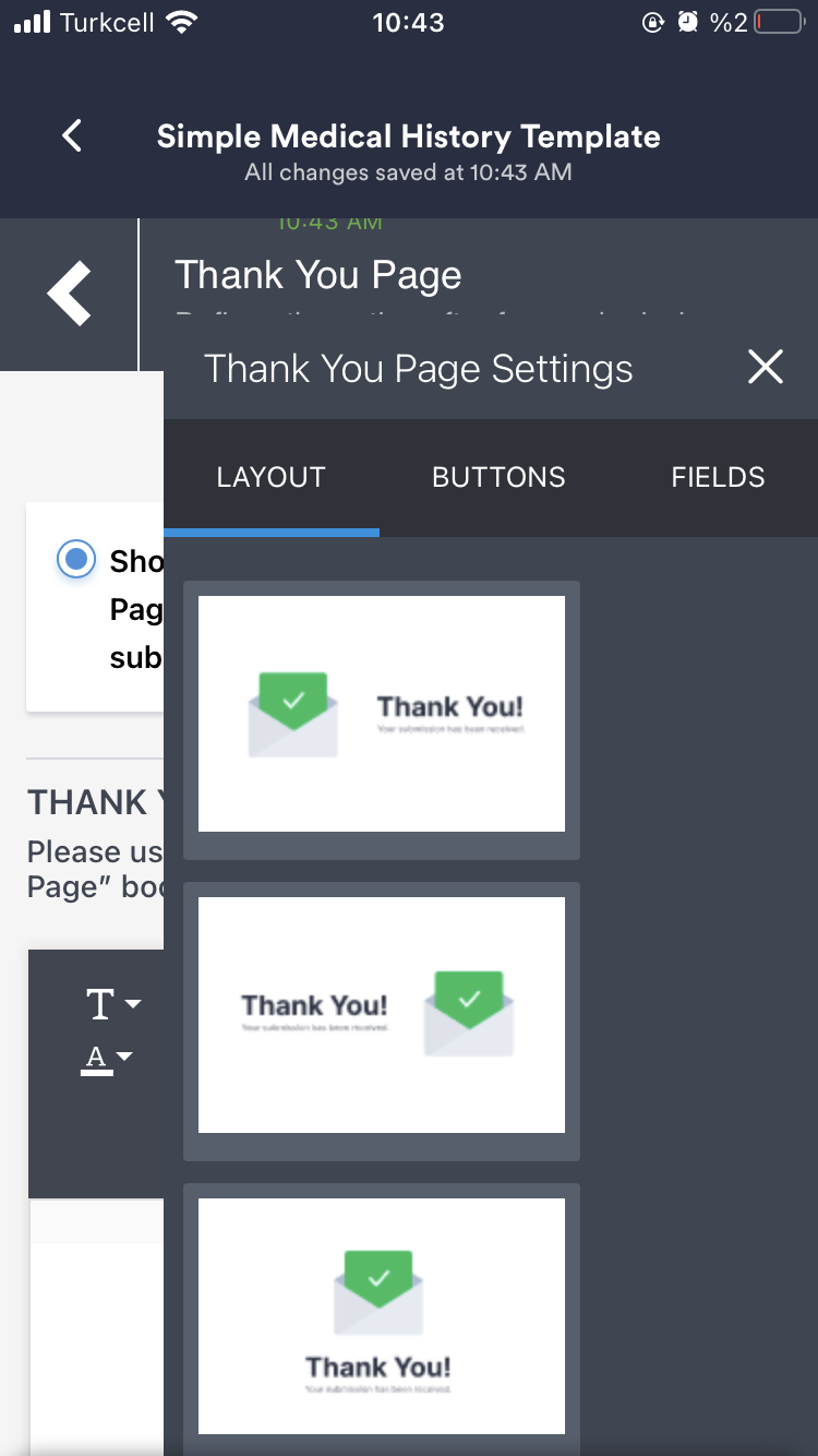 JotForm Mobile Forms updated Thank You Page settings
