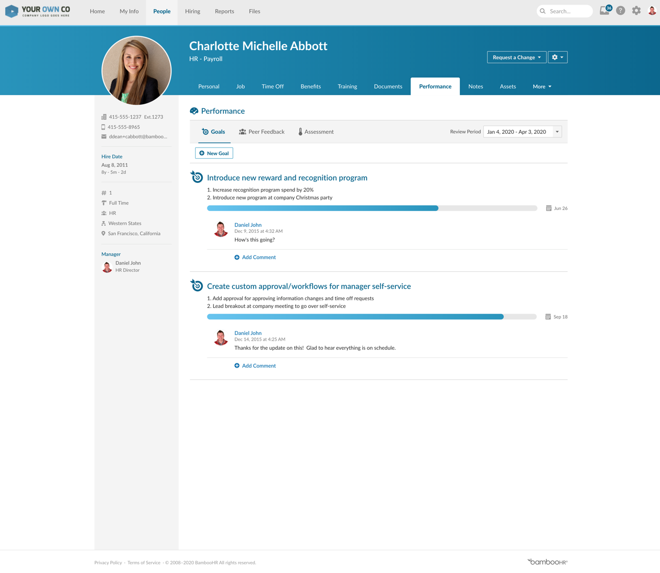 HR Payroll page of BambooHR