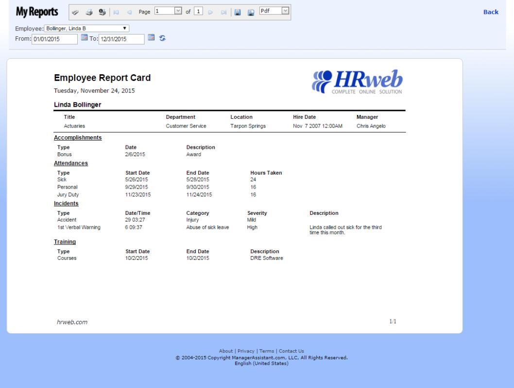 Employee Report Card of HRweb