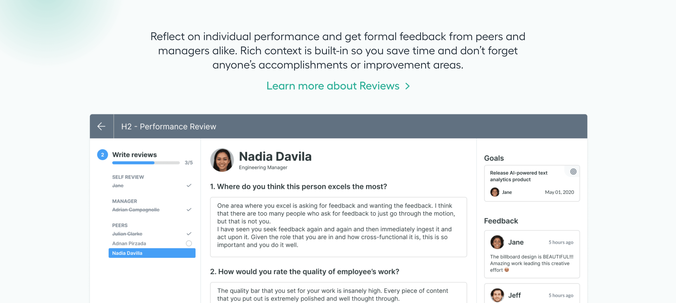 Performance review page of Lattice