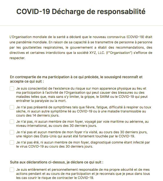 COVID-19 Decharge de responsabilite