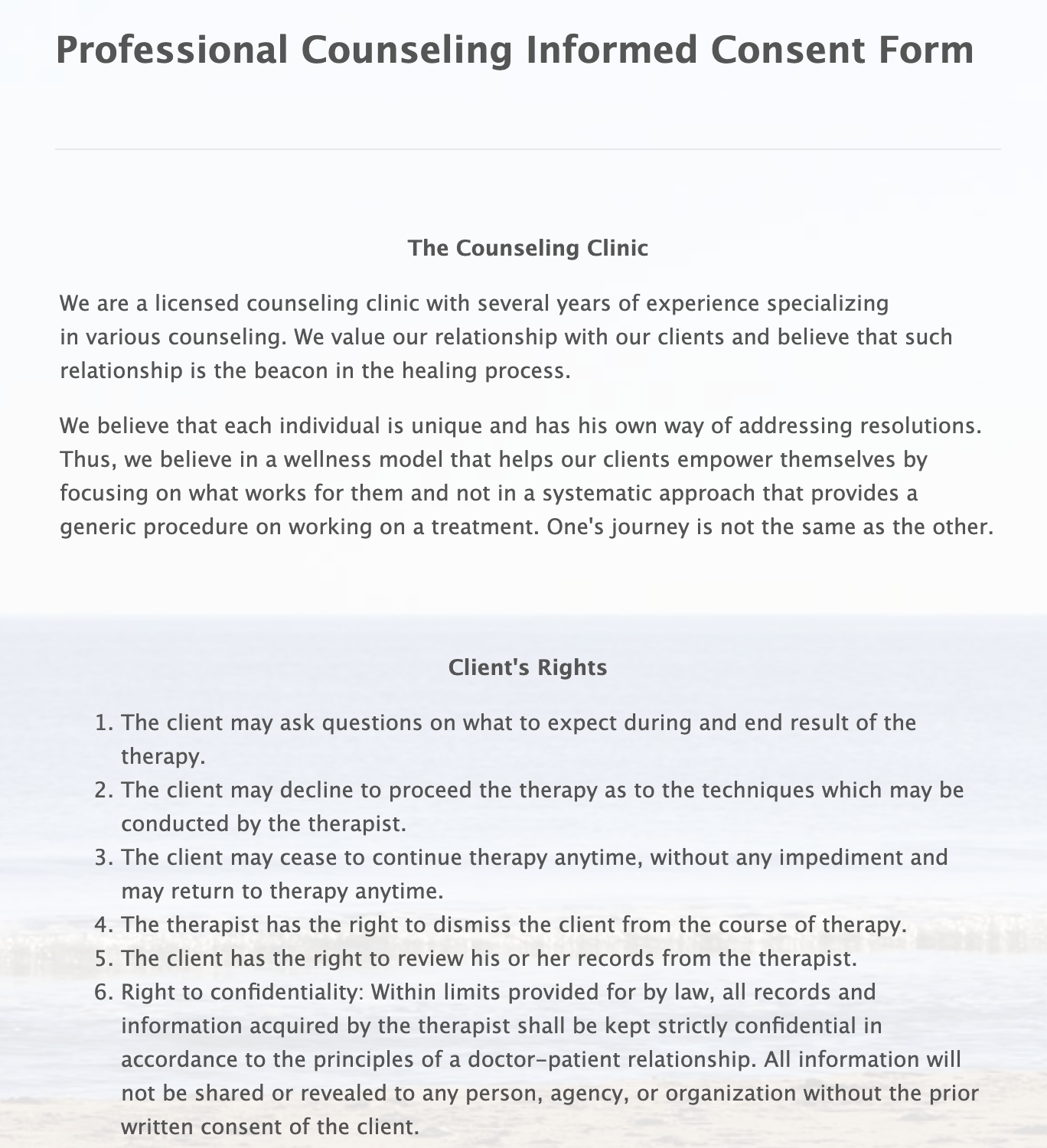 Professional Counseling Informed Consent Form