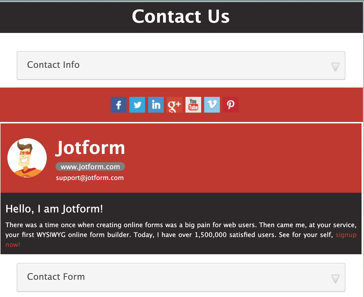 Social Media Contact Form Template