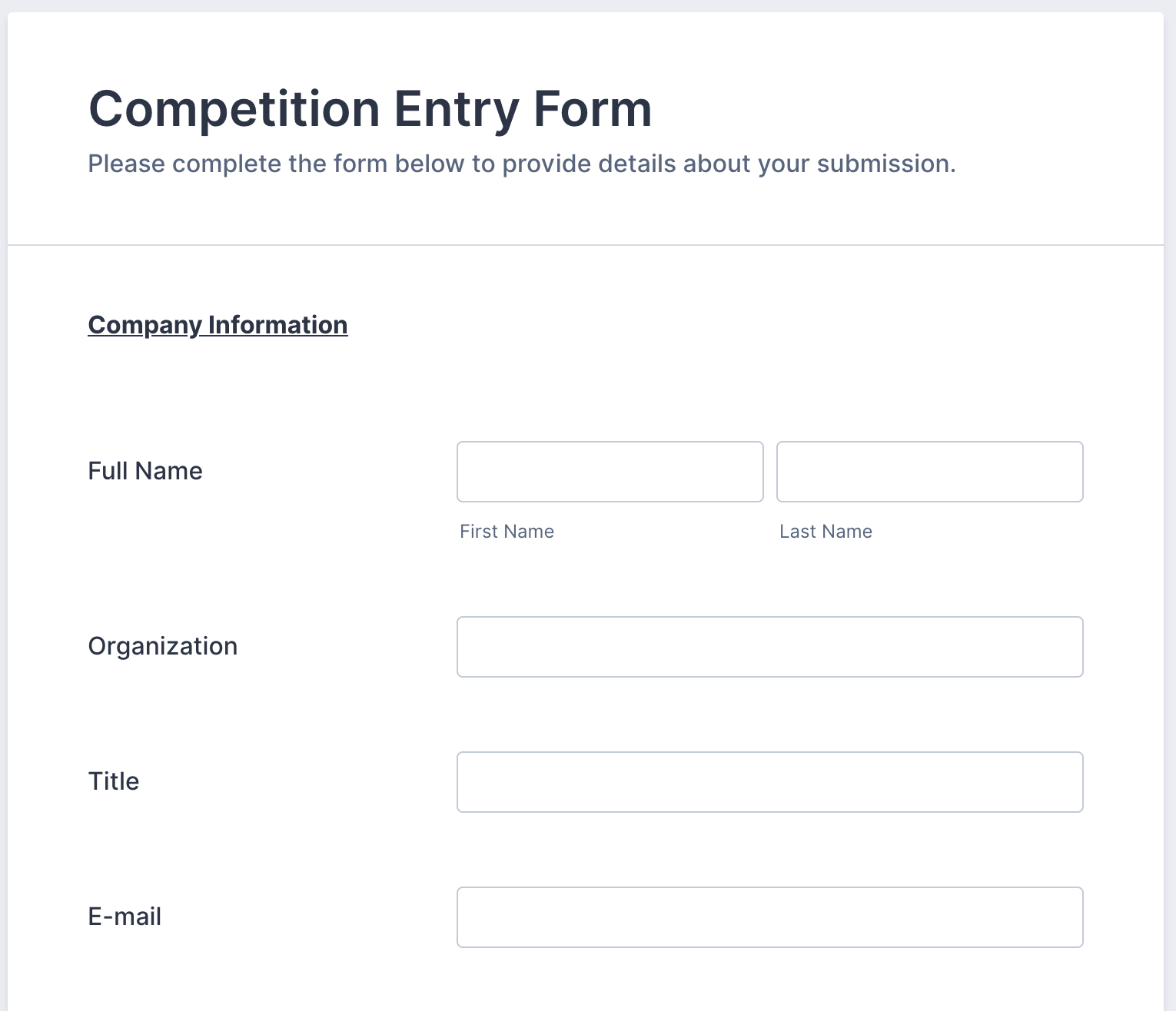 Competition Entry Form Template