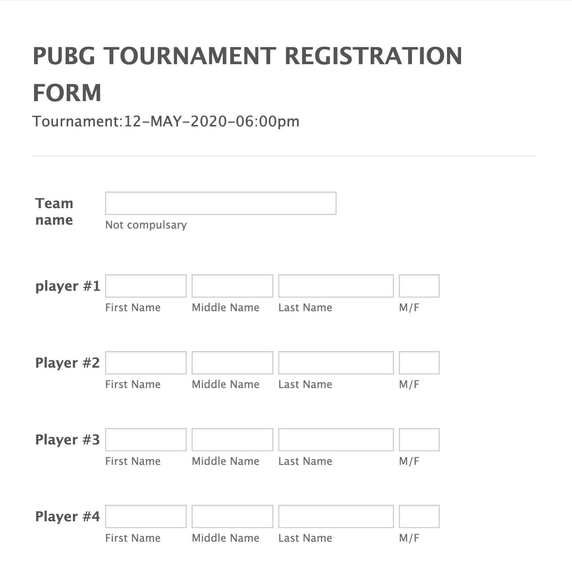 Tournament Registration Form Template