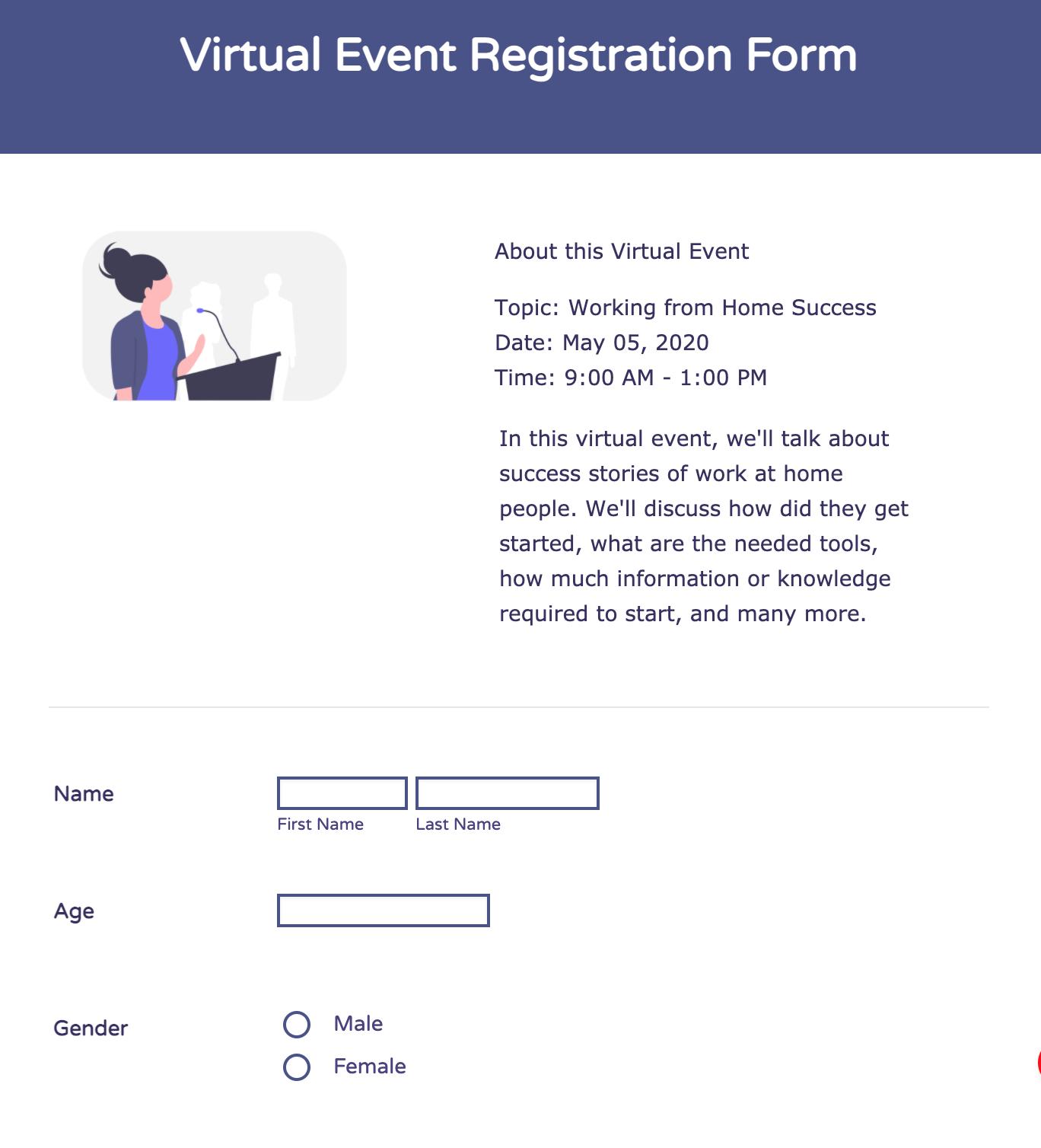 Virtual Event Registration Form Template