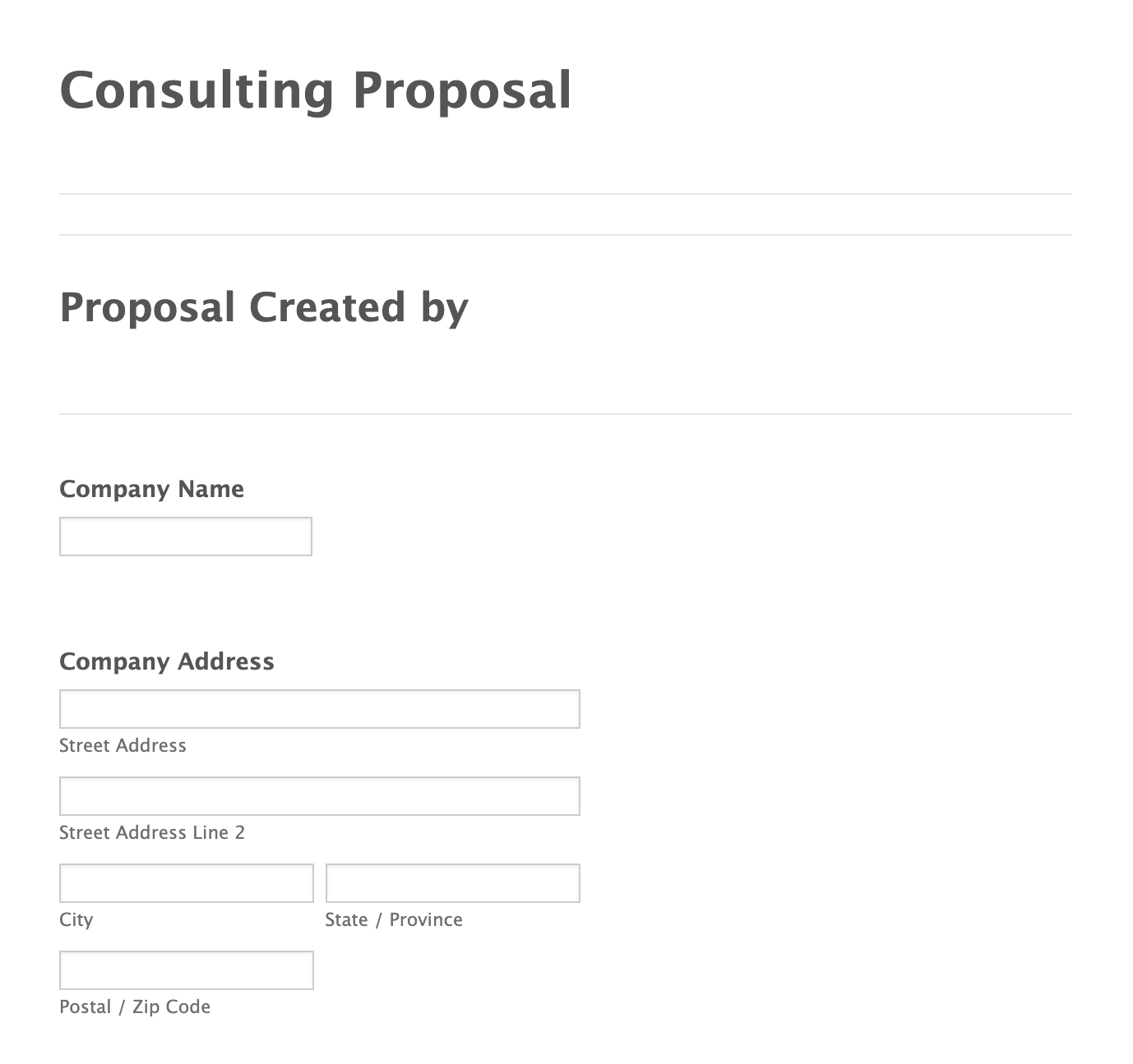 JotForm's Consulting Proposal Form Template