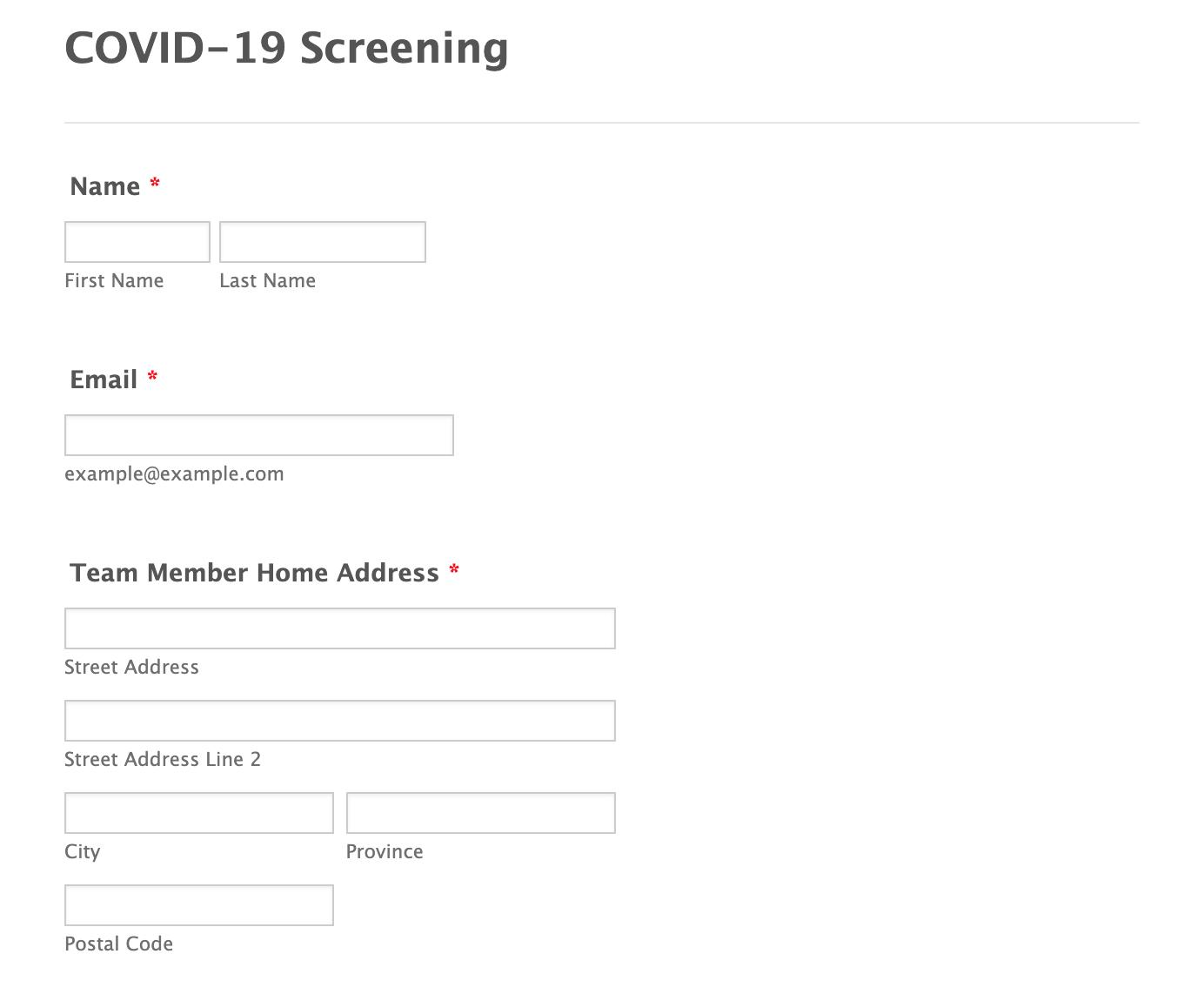 Covid-19 Team Survey Form Template