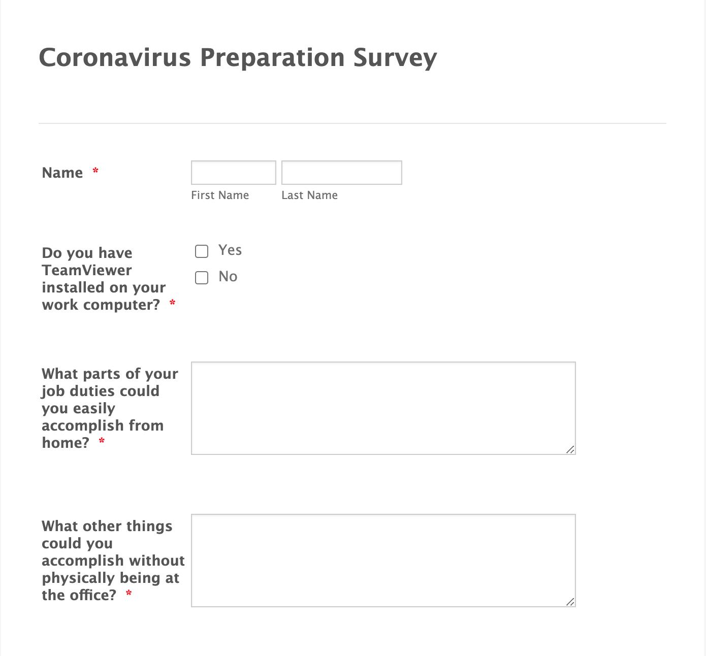 Coronavirus Preparation Survey