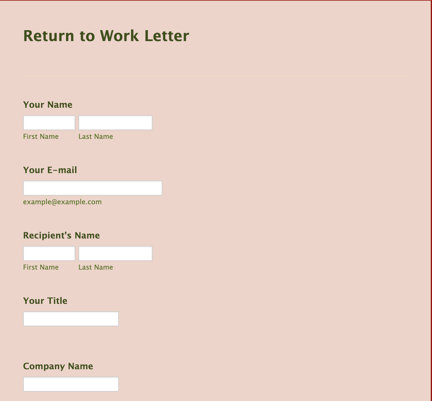 Return To Work Letter Form Template