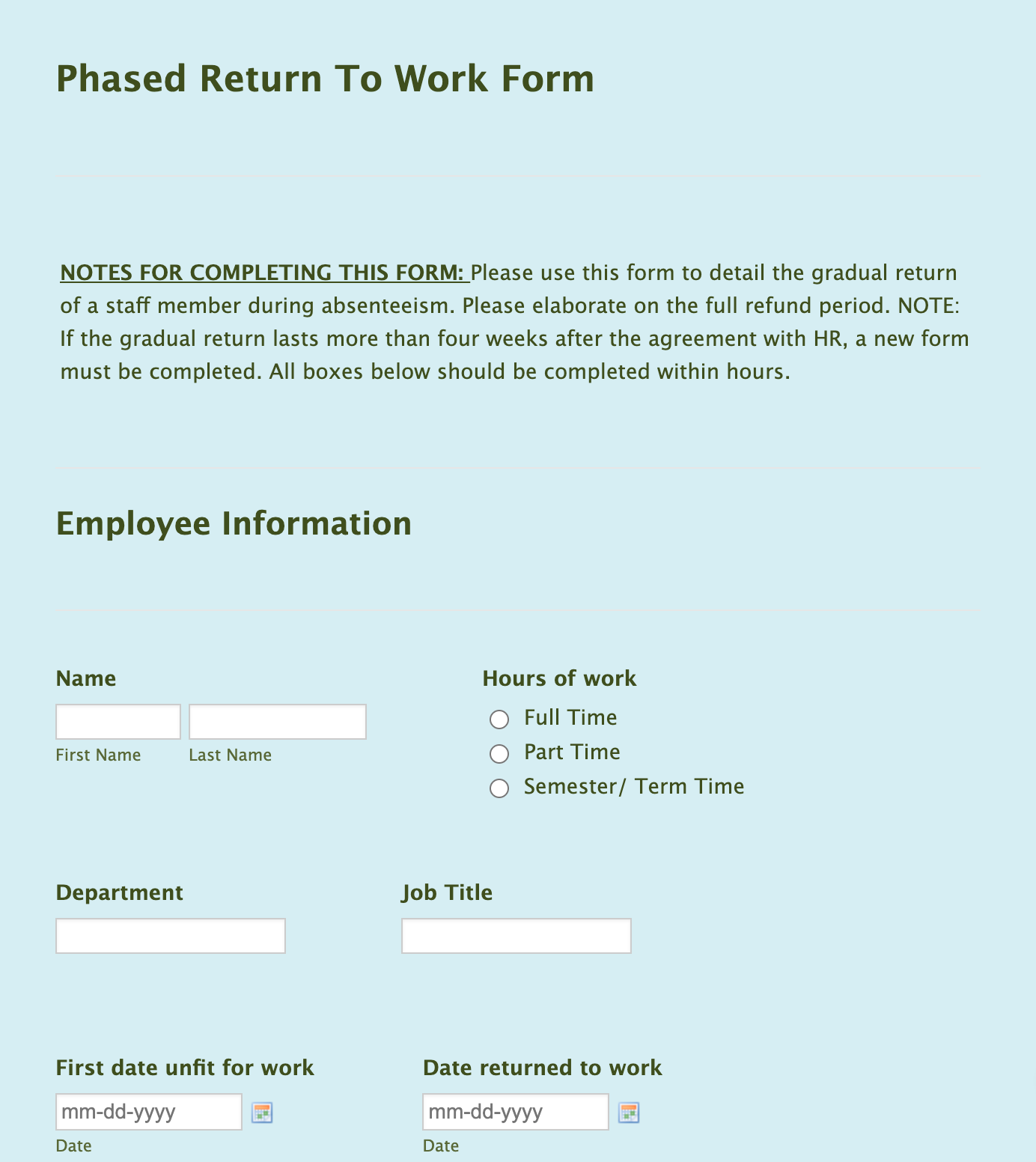 Phased Return to Work Form Template