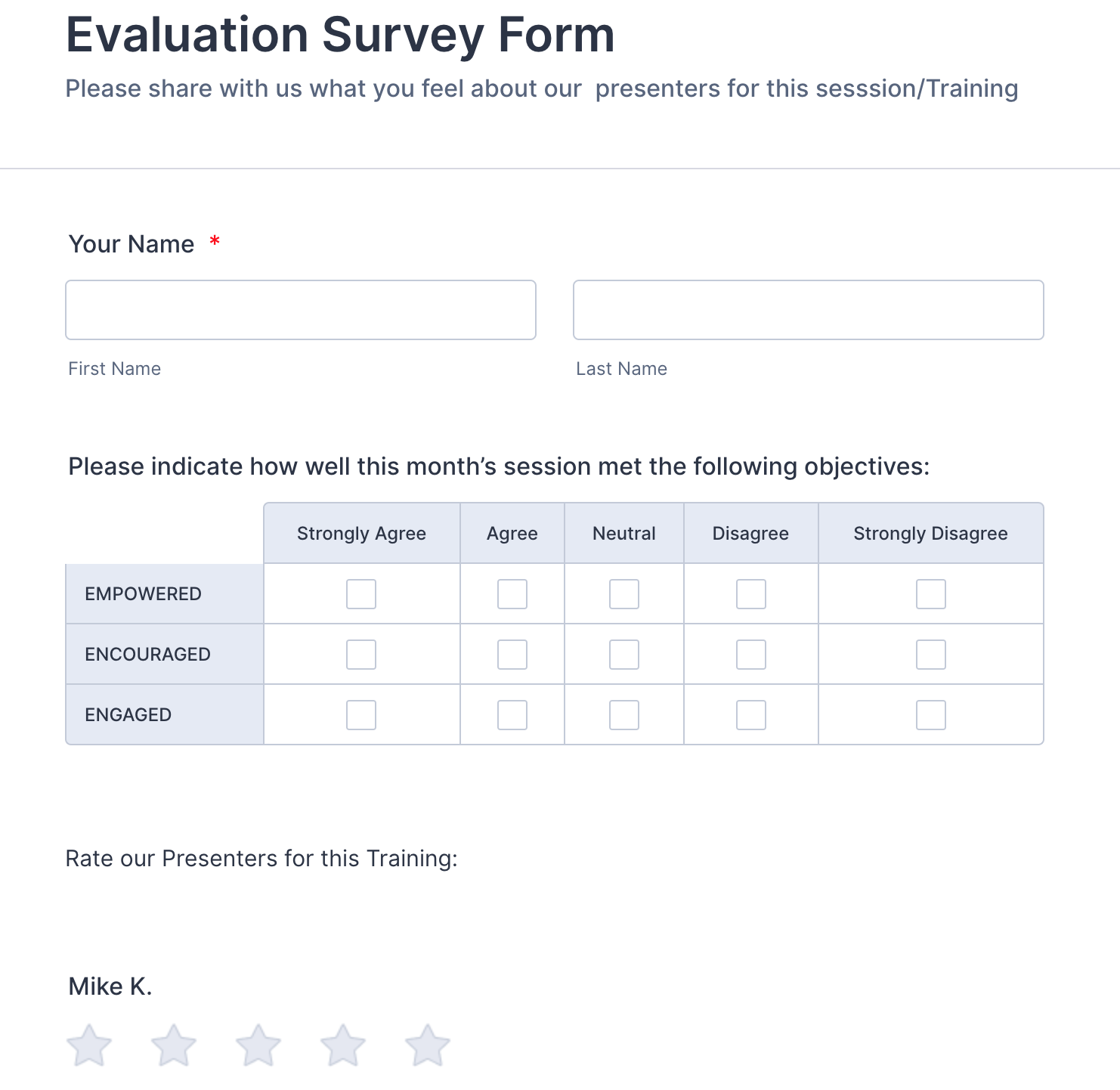 Evaluation Survey Form Template