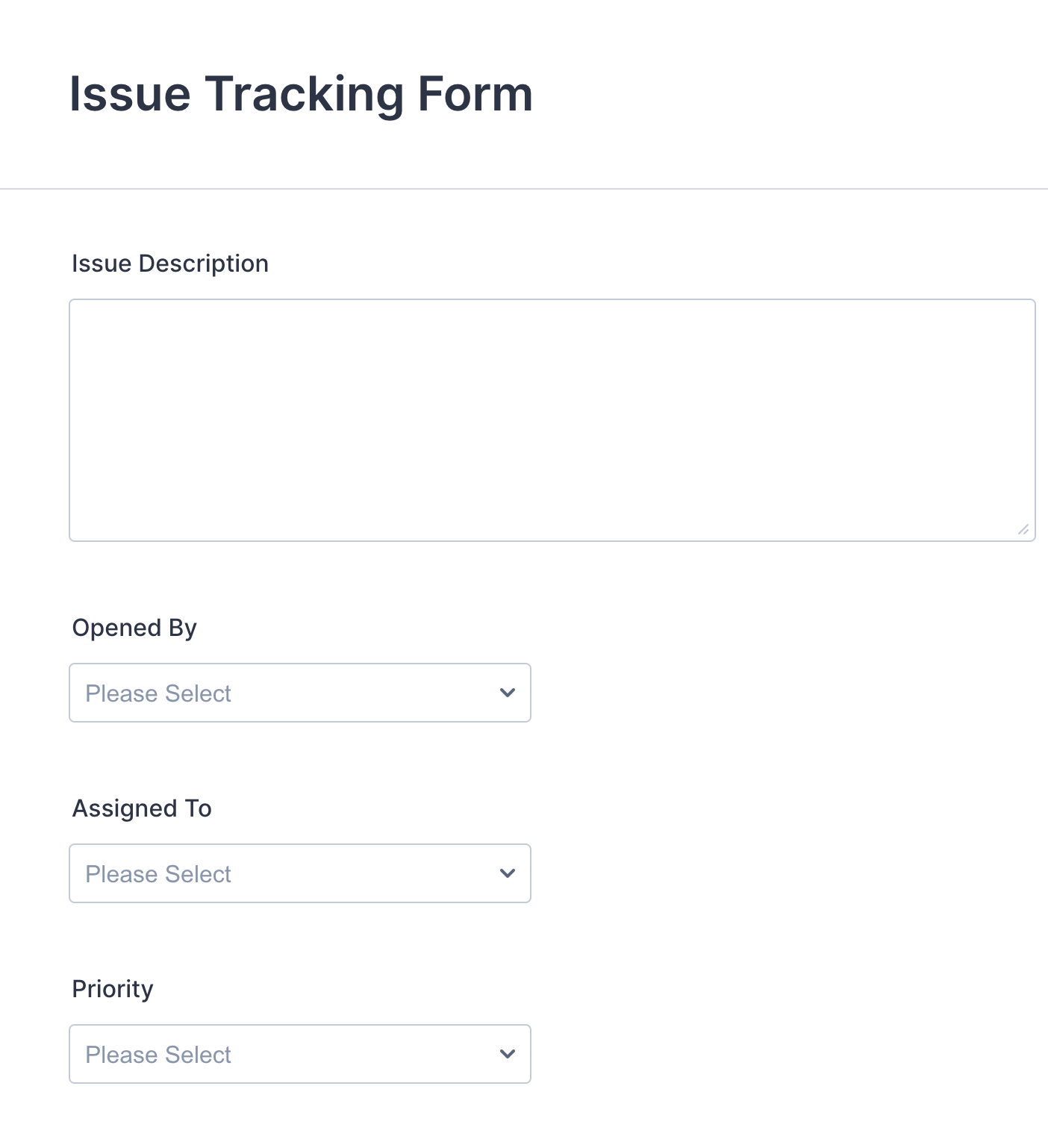 Issue Tracking Form Template