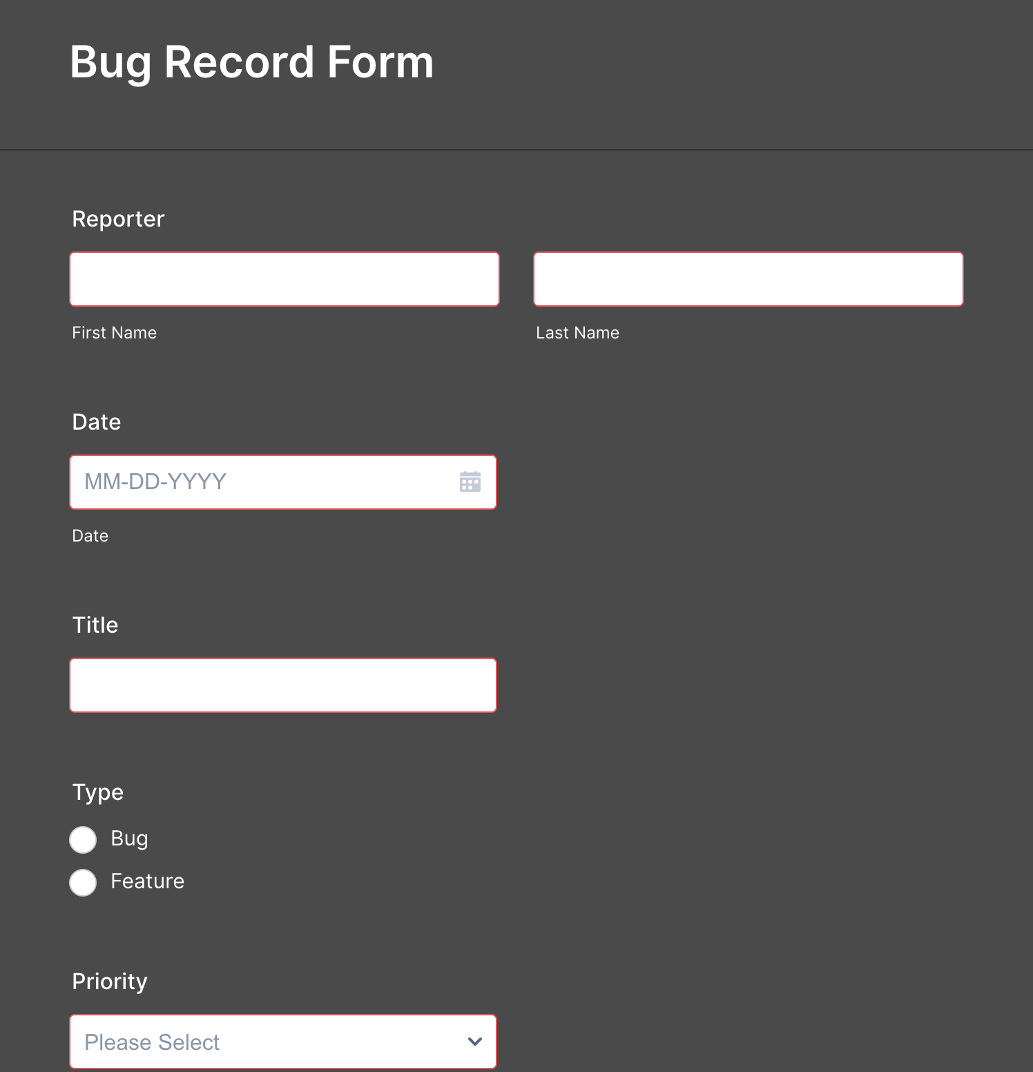 Bug Tracker Form Template