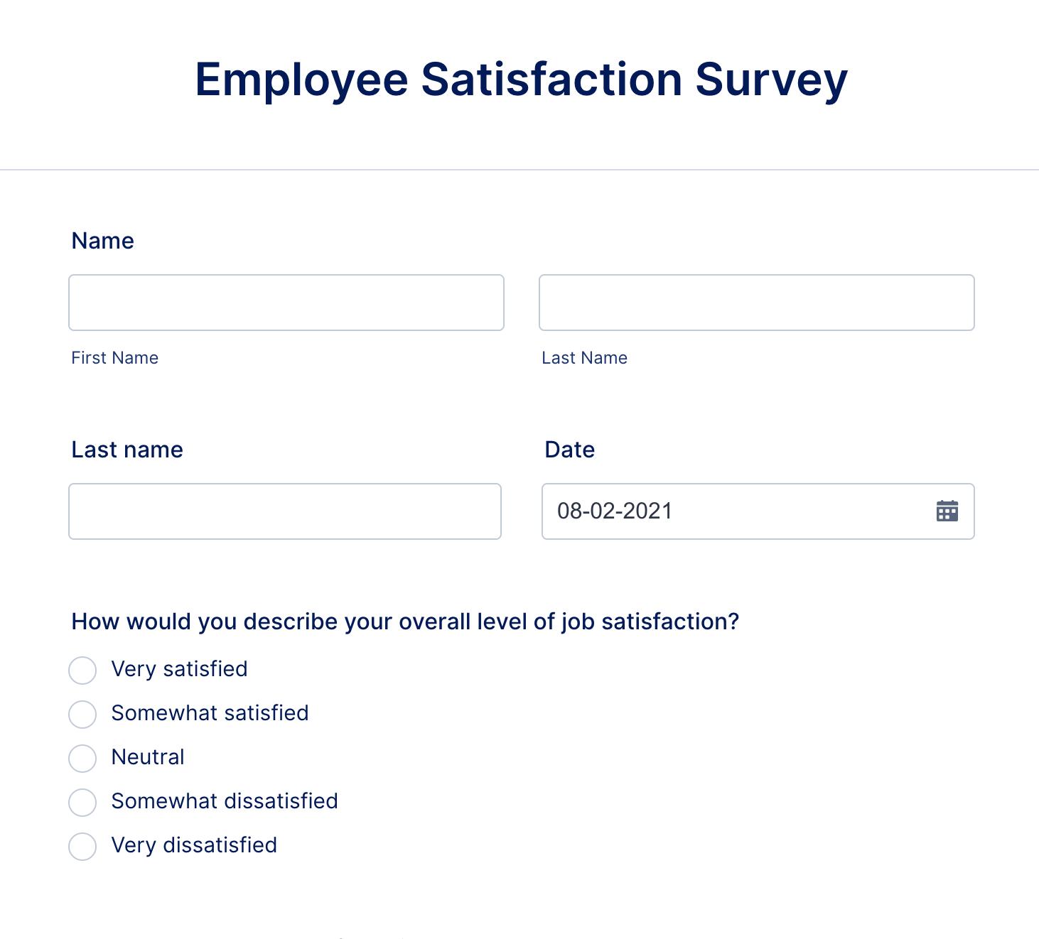 Employee Satisfaction Survey Form Template