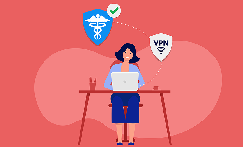 Woman working on her VPN enabled HIPAA compliant computer