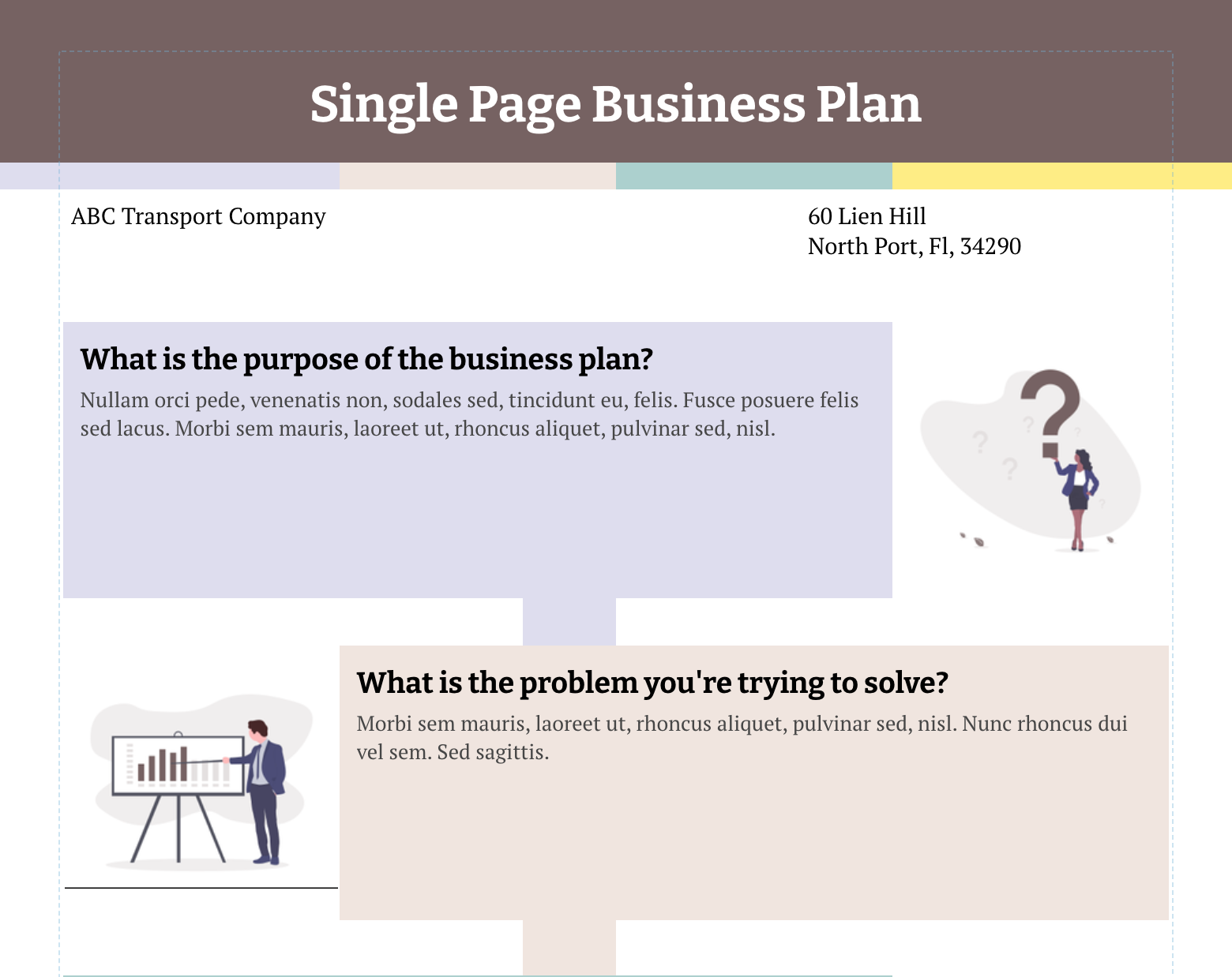 Single Page Business Plan Template